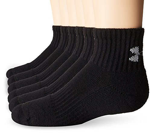 Boy's Under Armour Charged Cotton 2.0 Quarter 6 Pack, Black/Gray, Youth (One Youth Socks)