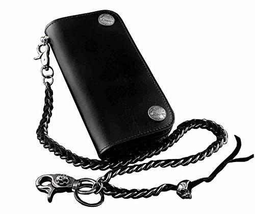 New!Mens Genuine Leather Biker Rocker Long Wallet Purse W/ Skull Braided Chain