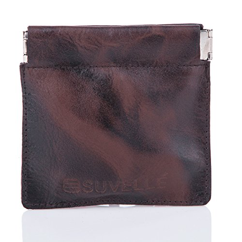 Suvelle Men's Genuine Leather Facile Squeeze Coin Pouch Change Purse Holder Wallet (Cyber Coins)