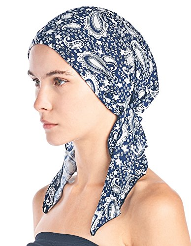 (Ashford & Brooks Women's Pretied Printed Fitted Headscarf Chemo Bandana - Blue Paisley)