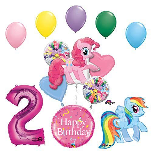 My Little Pony Pinkie Pie and Rainbow Dash 2nd Birthday Party Supplies and Balloon -