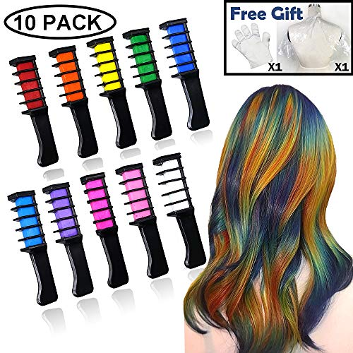 Hair Chalk Comb, APREUTY 10Pcs Temporary Hair Color with Disposable Gloves Shawl DIY Hair Chalk for Girls Age 4 5 6 7 8 9 10 11 Kids Adults Christmas Party Cosplay Festival New Year Gifts