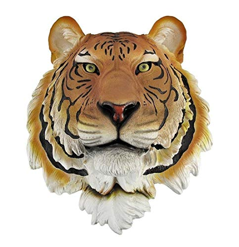 (Orange Bengal Tiger Head Bust Hanging Wall Mount Statue Figurine Collectible F3)