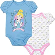 Disney Princess Cinderella Baby Girls' Bodysuit 2pk Blue (0-3 Months)