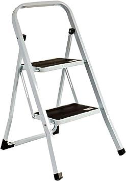 Escalera plegable Antideslizantes, Negro, Acero Inoxidable (2 Peldaños): Amazon.es: Bricolaje y herramientas