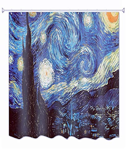 Get Orange Van Gogh Starry Night Shower Curtain, Thicken Curtain with 12pcs Plastic Hooks , 72