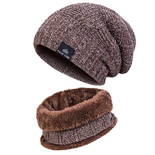 PAGE ONE Mens Winter Trendy Warm Hat Scarf Oversized Chunky Slouchy Beanie Scarf Fleece Outside Men Women(Khaki) -