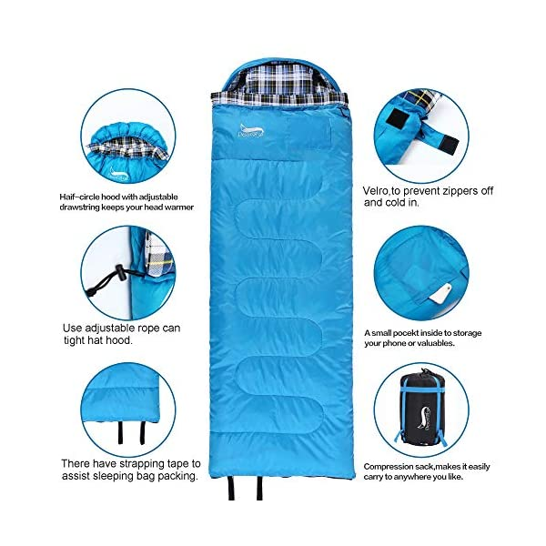 DESERT & FOX Cotton Flannel Sleeping Bags with Pillow, 4 Season Warm & Cold Weather Envelope Compression Sack, Lightweight & Portable Backpacking Sleeping Bag for Outdoor Camping, Hiking, Traveling 5