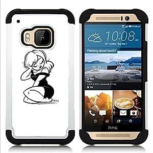 For HTC ONE M9 - Sexy B&W Tattoo Girl H???¡¯????brido Protecci???¡¯????n completa dual de alto impacto Capa Funda - Cash Case -