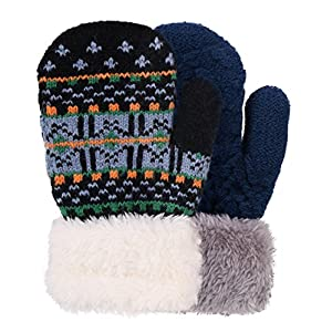 Arctic Paw Kids' Sherpa Lined Winter Knit Mittens - Assorted Colors & Patterns