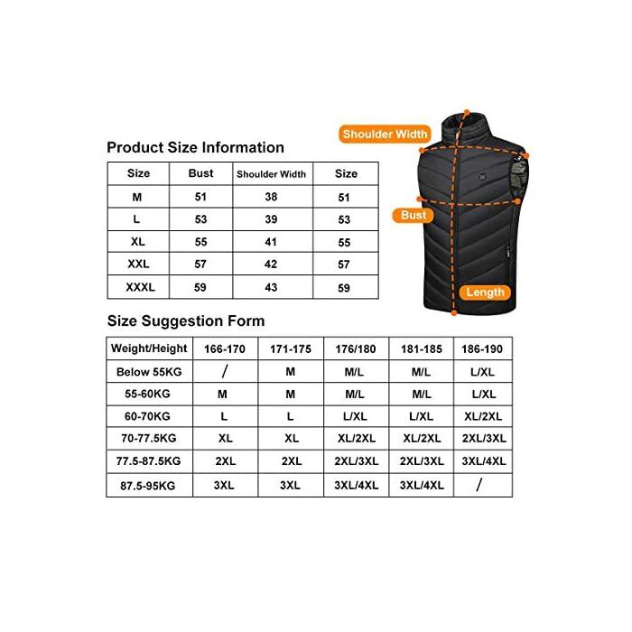 517OyfTp1iL 👉👉Mida su propio tamaño y consulte la tabla de tallas antes de comprar.Este tamaño es adecuado para personas bien proporcionadas o delgadas. Se recomienda elegir una talla más grande para un cuerpo más ancho o si le gusta la sensación suelta. 🔥 La seguridad lo es todo : 5 La malla calefactora de placa calefactora está hecha de 4 capas de fibra de carbono aislada: capa de tela base de alta adherencia, capa de alambre de calefacción de evacuación de densidad, capa de aislamiento impermeable. 🔥🔥Ajusta la temperatura a 3 velocidades: el chaleco calefactor está diseñado con un ajuste de la temperatura de 3 velocidades. Calefacción inteligente, Calefacción rápida: 1 minuto de calor. Protección contra el frío y el mantenimiento del calor. Observaciones: siempre es necesario conectar la alimentación móvil cuando se calienta. ayuda a mantener la circulación sanguínea y aliviar el dolor de los reumatismos y las tensiones musculares. Lana