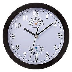 Decorative Wall Clock, SkyNature Silent Quartz Non-ticking Quartz Metal Frame Indoor Decor Wall Clock with temperature and humidity (10 Inch black)