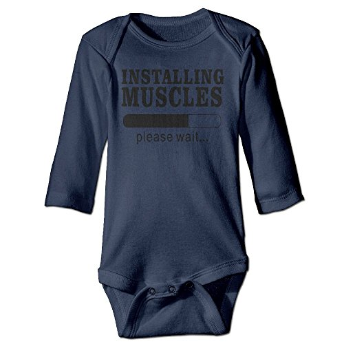 Richard Unisex Infant Bodysuits Installing Muscles Graphic Baby Babysuit Long Sleeve Jumpsuit Sunsuit Outfit 18 Months Navy