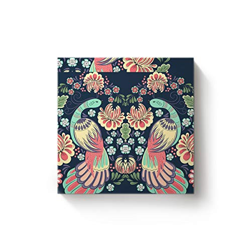 (Square Canvas Wall Art Oil Painting for Bedroom Living Room Home Decor,Chinese Style Phoenix with Flowers Birds Pattern Office Artworks,Stretched by Wooden Frame,Ready to Hang,28 x 28 Inch)