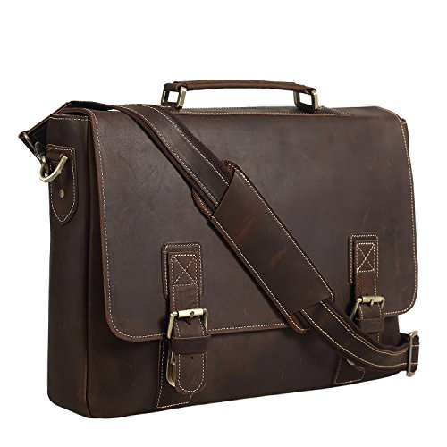Texbo Men's 16 Inch Full Grain Cowhide Leather Laptop Briefcase Messenger Bag Tote -
