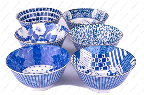 M.V. Trading MVSZ001/S Japanese Assorted Decorative Porcelain Bowls, 6-Inch (16 Ounces), Set of 6