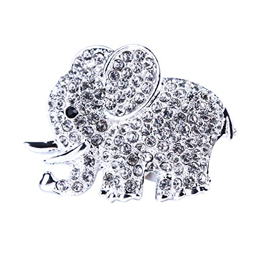 MOONQING Elephant Car Perfume Clips Rhinestones Animal Style Air Freshener Car Air Conditioning Vent Perfume Holder,Silver