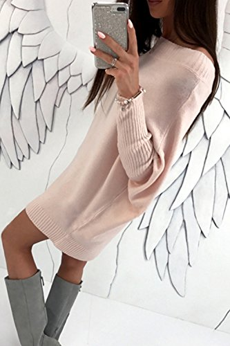 Pink Pull Robe Mini Robes Longues Manches Casual Femme Pulls Yacun Hiver de OxAPFBnPT