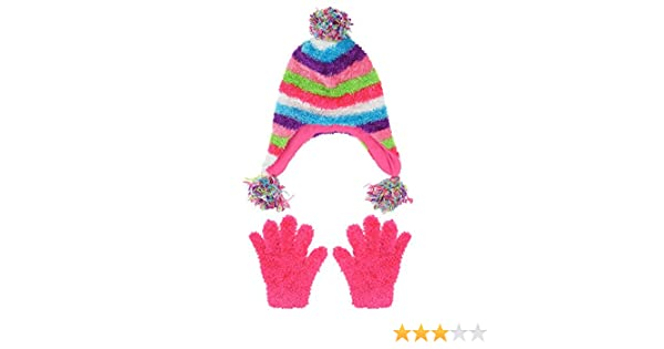 Capelli New York Girls Chunky Stripe Knit Earflap Hat Muffler and Mittens Set