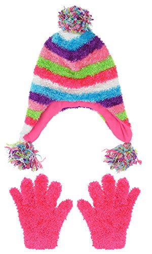 (Capelli New York Girls Striped Earflap Hat With Gloves Set Multi Combo S / M)