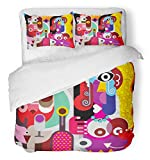 Emvency 3 Piece Duvet Cover Set Breathable Brushed Microfiber Fabric Colorful Picasso Two Beautiful Women with Bottle of Wine Abstract Fine Person Bedding Set with 2 Pillow Covers Twin Size