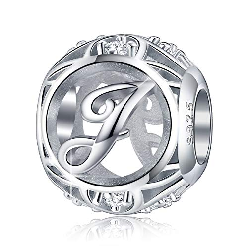 (FOREVER QUEEN Letter Charm Initial A-Z Alphabet Charm Dangle Charm for Bracelet Necklace, 925 Sterling Silver CZ Beads Charm Personalized Jewelry Gift for Men Women Girls Birthday Valentine's Day (J))