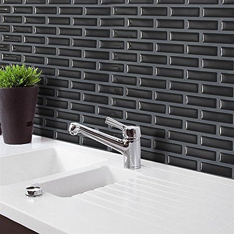 Amazon Com 23 5x28cm 3d Black Brick M Osaic Wall Sticker