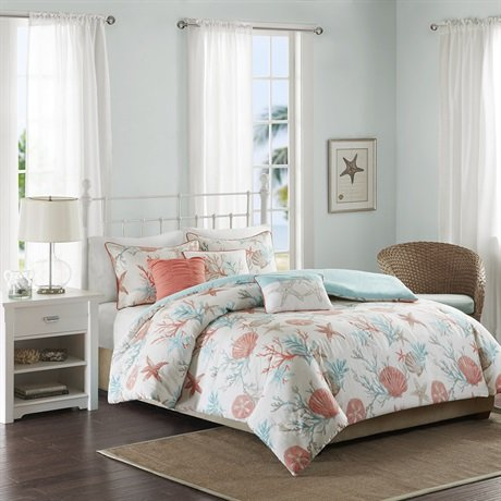 Madison Park MP12-2708 Pebble Beach 6 Piece Duvet Cover Set, King/California King, Coral