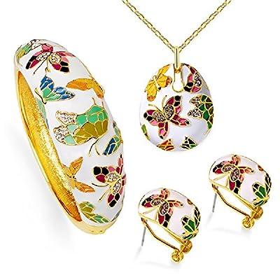 YYcharm Fashion Women Handcrafted Enamel Butterfly Necklace Earrings Bracelet Jewelry Set