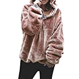 Kinrui Women's Tops & Blouse Womens Long Sleeve Fleece Zip Sweatshirt Fluffy Pullover Warm Outwear Oversize Coat with Pocket (Pink, US Size:10)