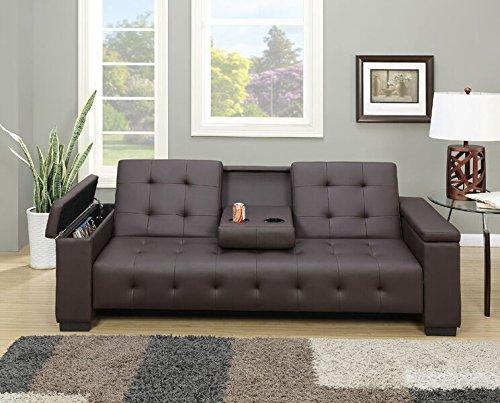 (Poundex Edda Espresso Faux Leather Adjustable Sofa Bed)