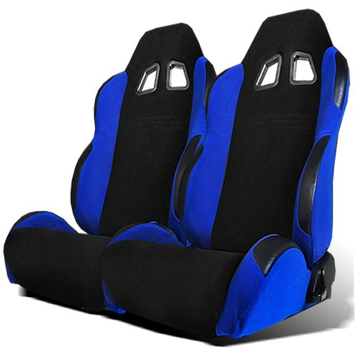 Modifystreet 1 Pai Type R Style Reclinable Cloth Sport Racing Bucket Seats - Black/Blue (Sliders included) (Cloth Racing Seat)