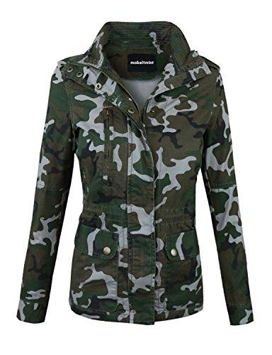 makeitmint Women's Zip Up Military Anorak Jacket w/Pockets Medium YJZ0005_Camo