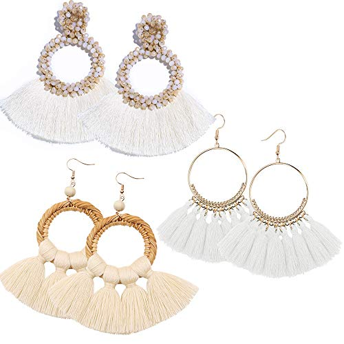 (RIOSO Hoop Tassel Earring Beaded Fringe Dangle Earrings Statement Fan Tassel Drop Earring for Women Girls)