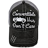 White Glitter Convertible Hair Don't Care Distressed Look Grey Trucker Cap Hat