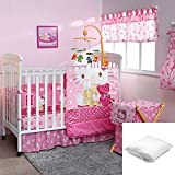Hello Kitty Caramelo 8-Pc Crib Beding Set Crib size Bundled with One Pillow Protector Queen