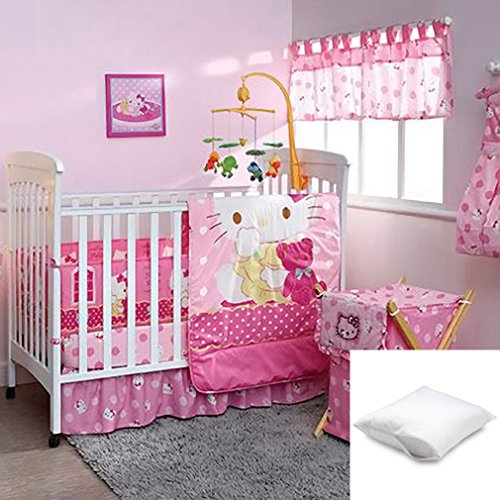 Hello Kitty Crib Bedding Set (Hello Kitty Caramelo 8-Pc Crib Beding Set Crib size Bundled with One Pillow Protector Queen)