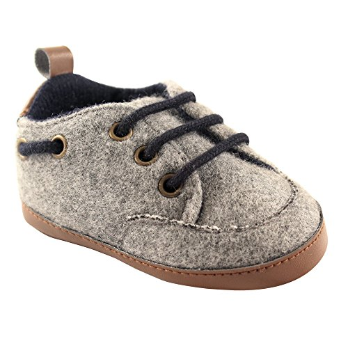 Luvable Friends Boys' Wooly Sneaker, Charcoal, 6-12 Months M US Infant