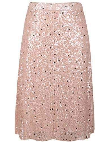 PrettyGuide Women's Sequin Skirt High Waist A-Line Midi Evening Skirt Clubwear XL Pink