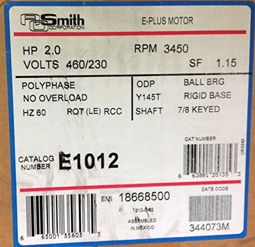 E1012 AO Smith Belt Drive Motor 2 HP / Poly Phase / 3450 - 3450 Coil