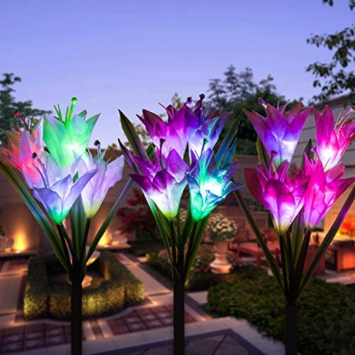 Outdoor Solar Garden Stake Lights,Upgraded Solar Powered Flower Lights,Multi-Color Changing Led Solar Decorative Lights,for Pathway Patio Lawn Yard Roads Walkway Driveway 3pack Lily Flower Lights