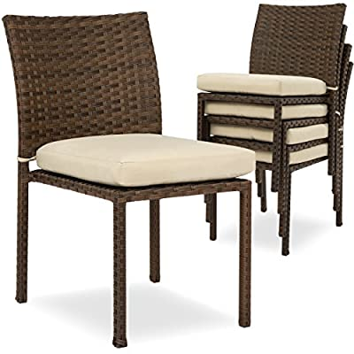 Best Choice Products Set of 4 Stackable Outdoor Patio Wicker Chairs w/Cushions, UV-Resistant Finish, and Steel Frame, Brown - STRONG WICKER AND STEEL: Made of durable, UV-resistant material designed to last for years in your backyard or patio 4 STACKABLE CHAIRS: Stack them up to save space and easily store them in a garage or shed, or to quickly move them to another area TASTEFUL DESIGN: A classic, rich brown wicker finish and complementing cream cushions create the perfect touch to your home's porch or patio setup - patio-furniture, patio-chairs, patio - 517P0GarlvL. SS400  -