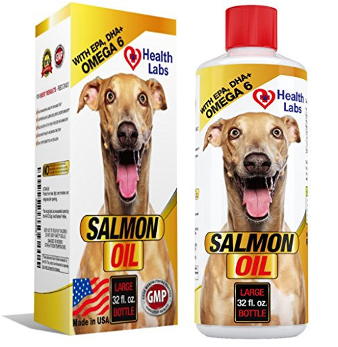 Salmon Oil Omega 3 & 6 for Dogs & Cats - Stops Dogs Itching Fast - For Healthy Skin & Shiny Coats - 100% Natural Organic Fish Oil Supplement for Pets - Unscented Formula With EPA DHA by The Health Labs