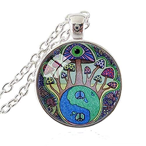 Mushroom Necklace Yin Yang Peace Sign Hippie Pendant Eye Jewelry Glass Cabochon Silver Chain Necklace