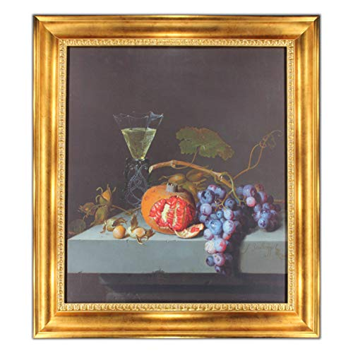 UpperPin Still Life with Fruits by Jacob Van Ruisdael, Oil Painting Print on Museum Quality Canvas, with Victorian Gold Frame, Size 27
