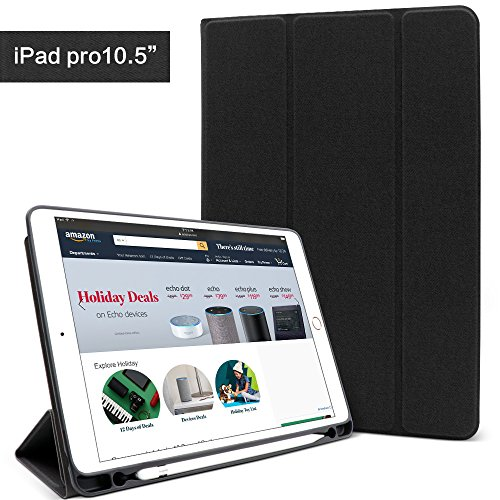 iPad pro 10.5 case with Apple Pencil holder, Lightweight Smart Case Trifold Stand with Auto Sleep/Wake Function, Microfiber Lining, Flexible Soft TPU Back Cover for Apple iPad Pro 10.5-inch ,Black