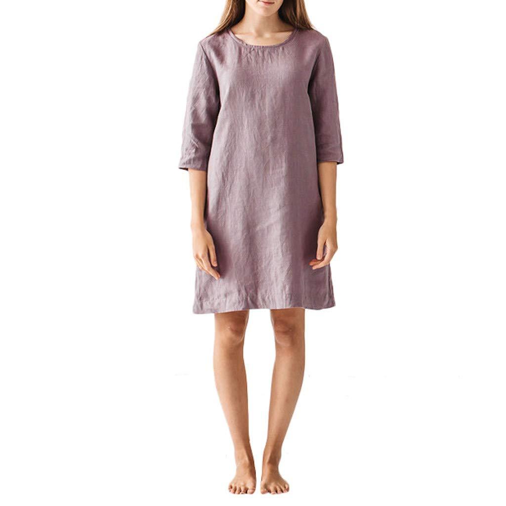 Alangbudu Women Casual Crewneck Cotton Linen Half Sleeve Plain Simple T-Shirt Loose Shift Mini Dress Knee Length Cocktail Purple