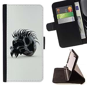 For Sony Xperia M2 Case , Spiked Skull- la tarjeta de Crédito Slots PU Funda de cuero Monedero caso cubierta de piel