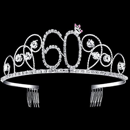 BABEYOND Crystal Birthday Tiara Crown Princess Birthday Crown Hair Accessories Happy 60th Birthday Crown Tiara for Women (60 -