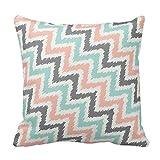 Mint Gray Coral Zigzag Ikat Pattern Pillow Covers 20 x 20